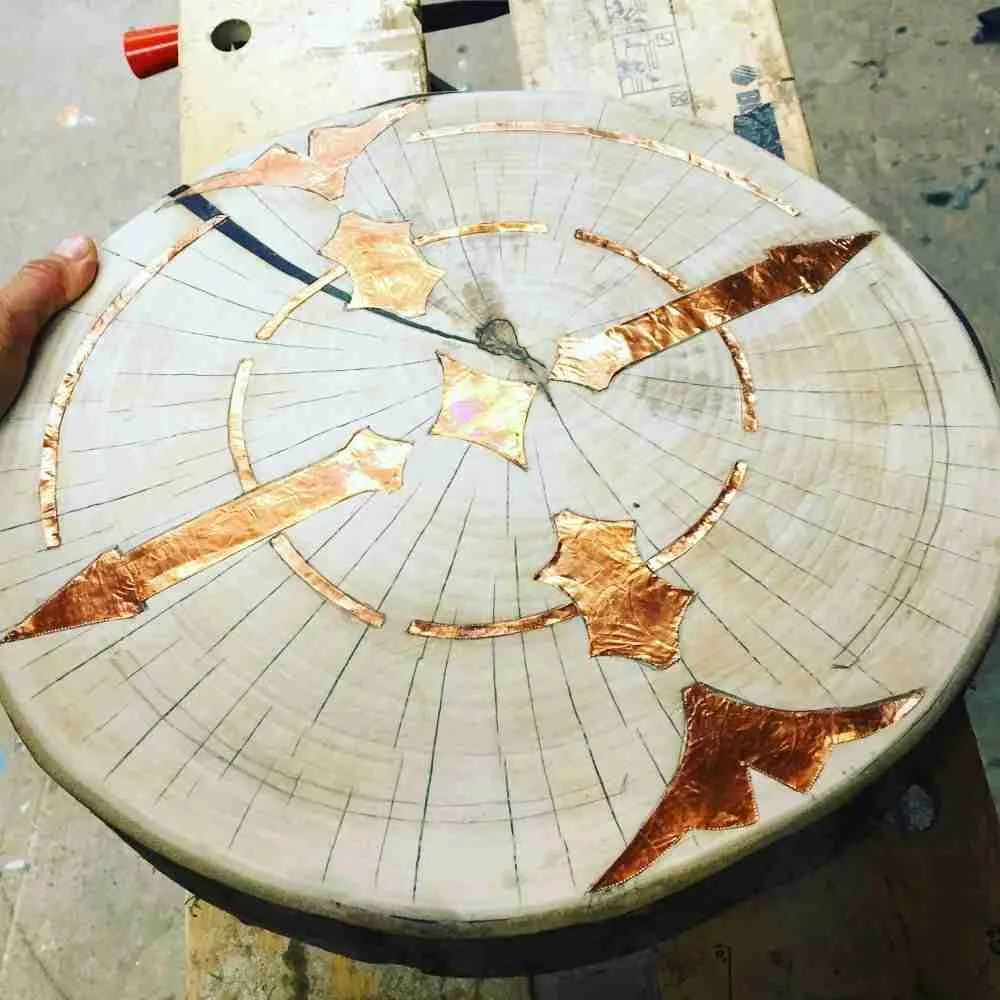 copper inlay tree ring table top Brighton