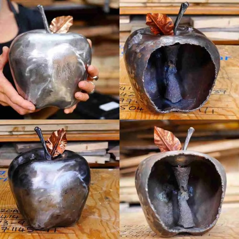 Forge steel apple with copper leaf