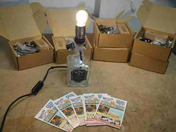 JD bottle up cycled lamp
