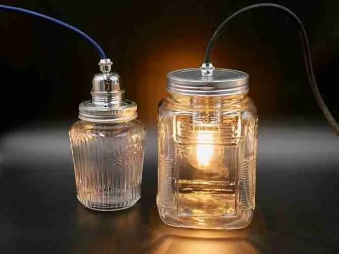 making a jam jar lamp with embossed jam jar