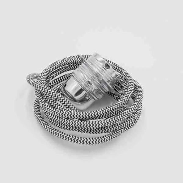 black and white striped lighting flex with chrome lampholder