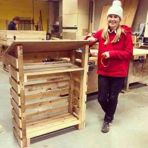 Wood store made from free pallets with the salvage sister in brighton