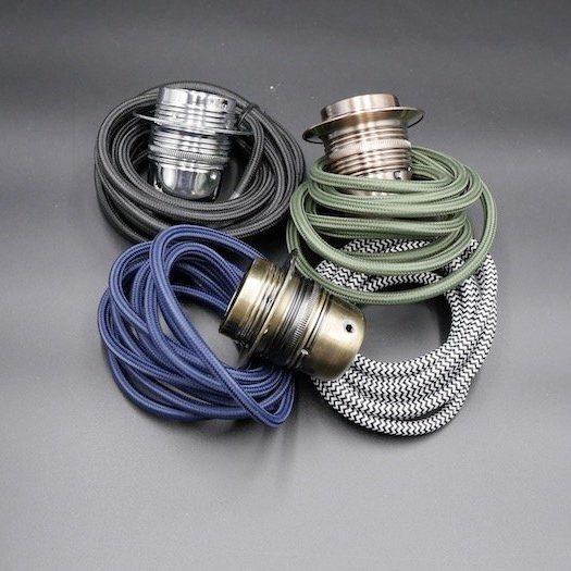 metal E27 lampholders and fabric flex