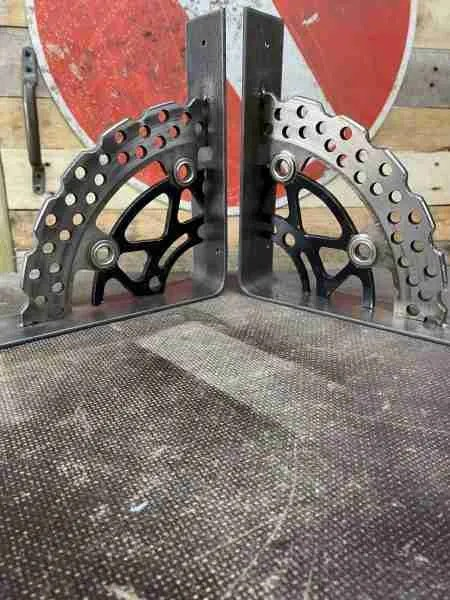 handmade industrial style motorbike parts shelf brackets