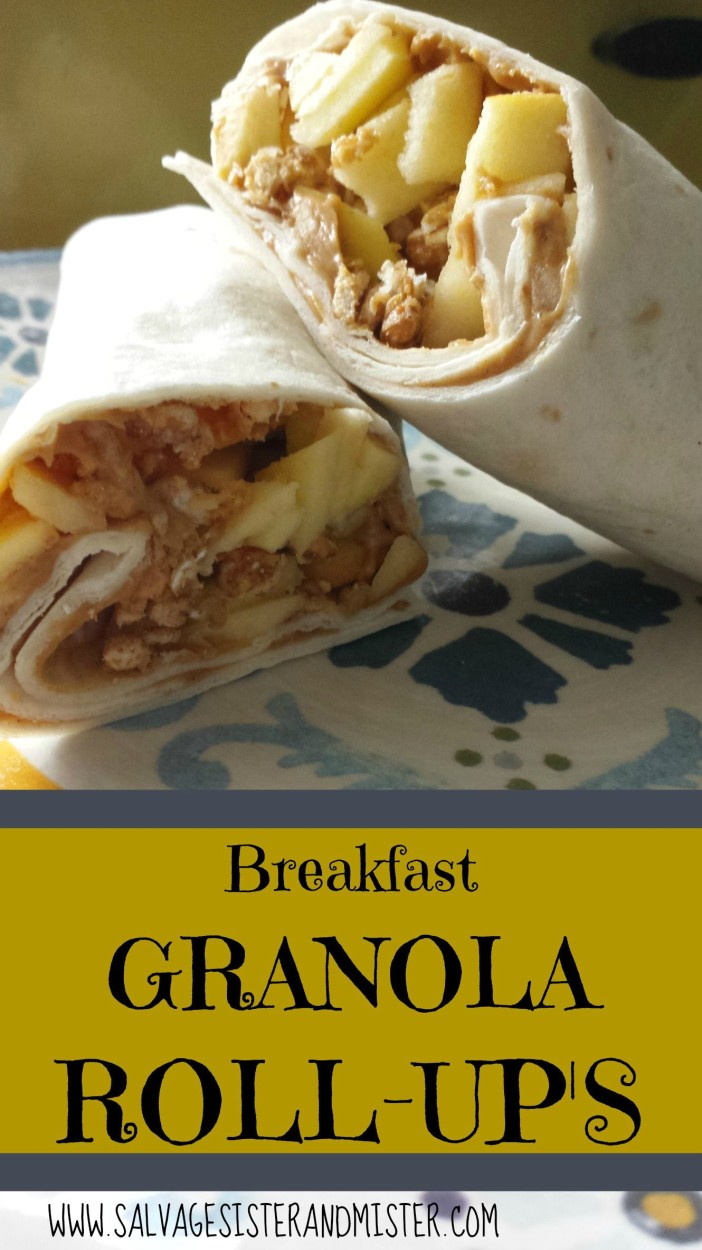 Breakfast granola roll ups are a perfect alternative to cereal. Quick and simple breakfast idea that can be customized to your liking. Kid approved as well as adults. www.salvagesisterandmister.com