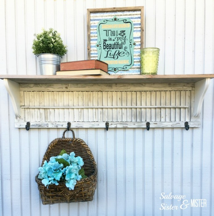 DIY wood shutter shelf by Salvage Sister and Mister