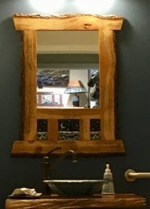 Handmade Wood and Tile Mirror
