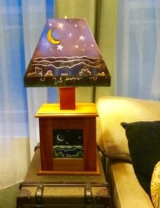 Handmade wood ceramic lamp