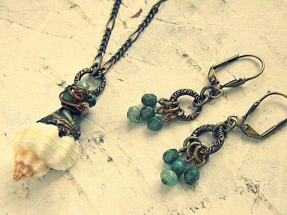 seashell jewelry set