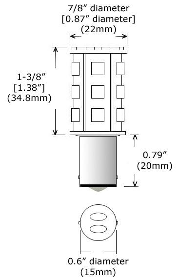 12 Volt LED Bulb (10-30vdc), ba15d Double Bayonet base