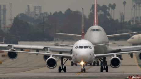Airplanes taxing at LAX