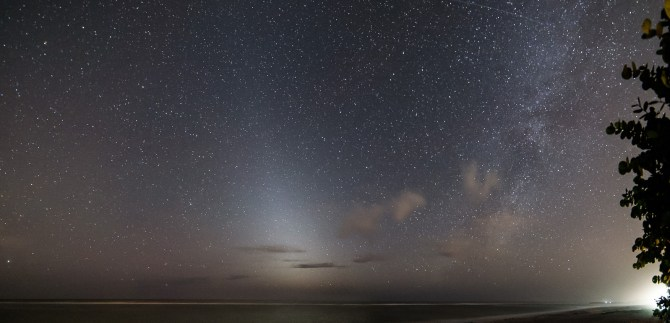 Two-Panel mosaic showing the Zodiacal light and Milky way over the Gulf of Mexico, Image taken on Sanibel Island, Florida, 30s, f/3.5, ISO 3200, Samyang 14mm, Nkon D750