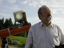 Alois and his sun projection setup on his 16cm Newtonian telescope