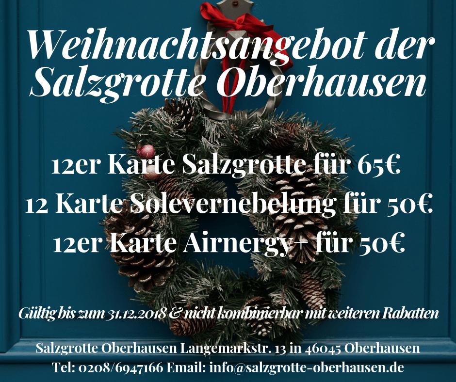 Weihnachtsangebot der Salzgrotte Oberhausen 2018
