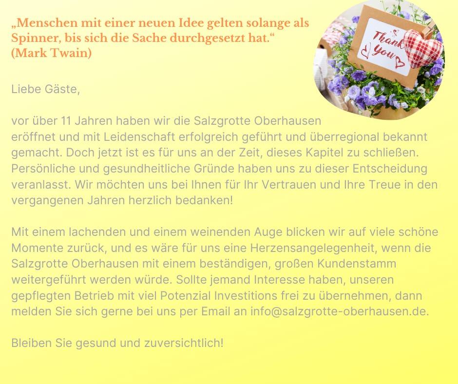 Der Blick zurück auf 11 Jahre Salzgrotte Oberhausen