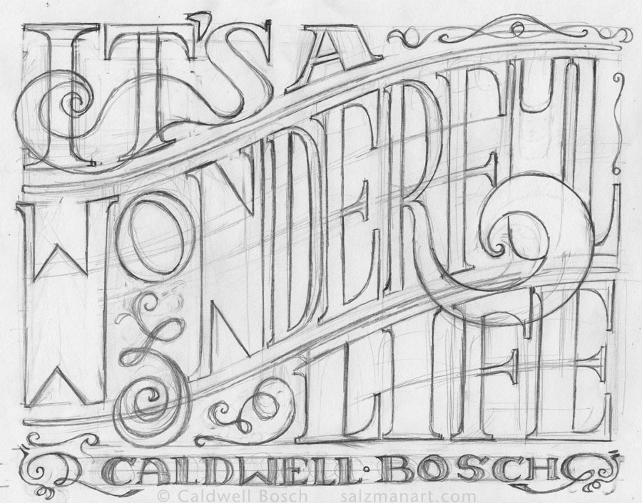 Caldwell Bosch, artist creating hand lettering, custom