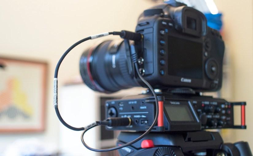 Tascam DR-70D on Canon 7D Mark II Sescom cable