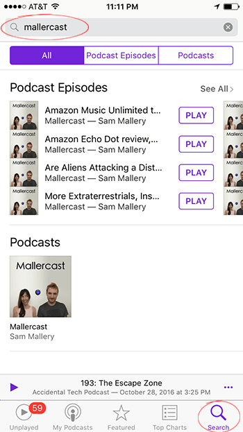 Apple Podcasts app search fields