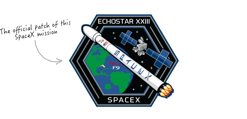 The official patch of the SpaceX Echostar XXIII mission