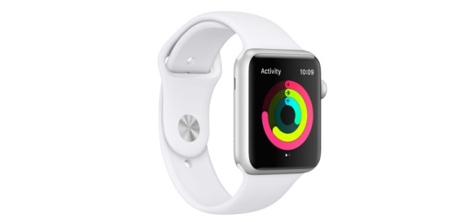 The Apple Watch Series 1 with white band