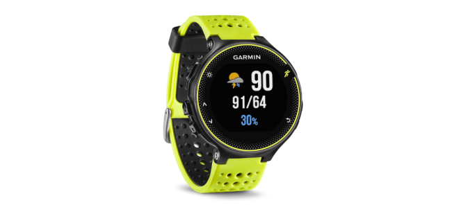 The Garmin Forerunner 230 watch in the Force Yellow color