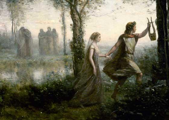 Orpheus Leading Eurydice from the Underworld. Camille Corot. 1861.