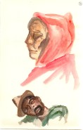 watercolor of homeless woman and man