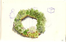 watercolor of a succulent wreath
