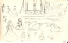 sketches of Disney Princesses at Disneyland