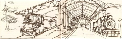 sketch of old steam engines