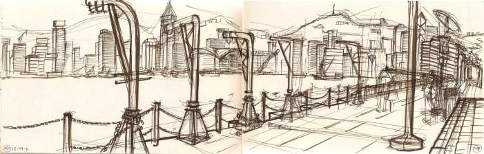 Sketch of Hong Kong harbor
