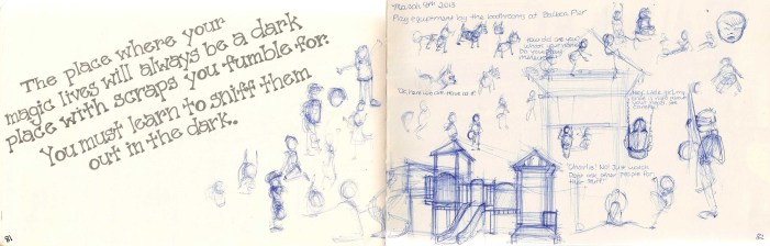 sketches of kids playing