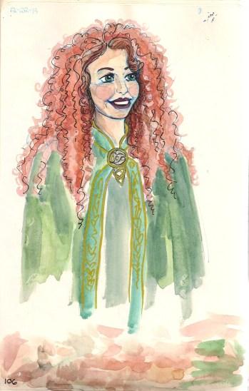 drawing of Merida from Disneyland
