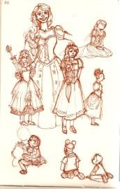 sketches of people at Disneyland