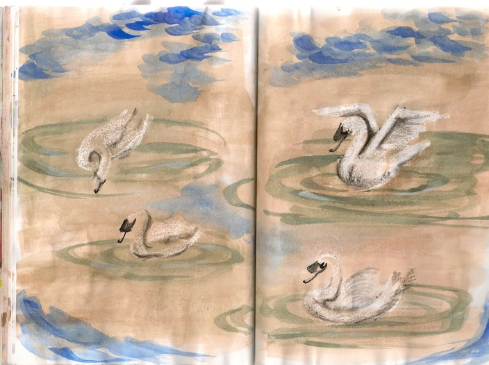 sketch of swans in a pond in Marie Antoinette's Hammeau