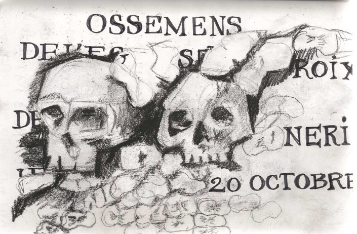 sketch of a skull and text