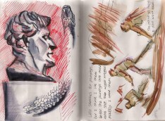 ink and watercolor sketch of art in a museum