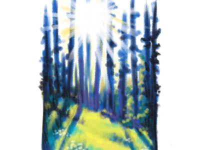 Samantha George, digital painting of light coming through trees.