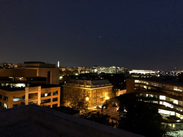Washington Monument from rooftop bar in Georgetown, DC