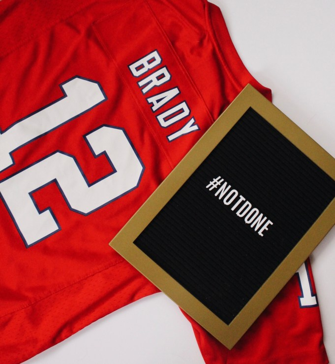 Tom Brady jersey and letter board