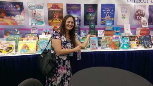 Samantha M Clark with THE BOY, THE BOAT, AND THE BEAST at the Simon & Schuster booth.