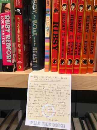 THE BOY, THE BOAT, AND THE BEAST shelf talker at Interabang Books in Dallas.