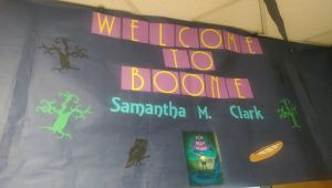 Boone Elementary poster for Samantha M Clark author visit