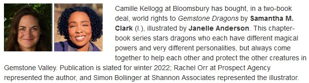 Gemstone Dragons Publishers Weekly announcement from 7-15-21