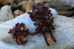 GWV Garnet and Gold FSU Stretch Bracelet and Ring Close Up (Doisy-M)