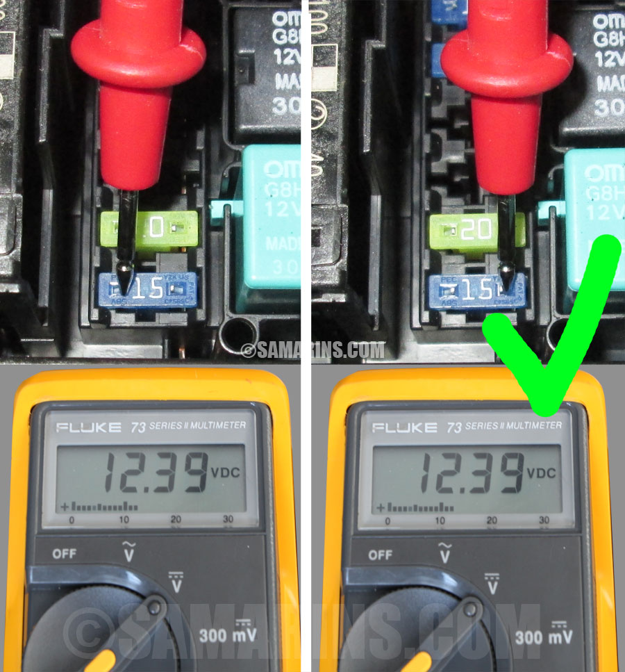 hight resolution of checking a fuse in a car with a multimeter