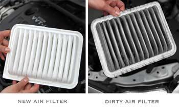 Dirty vs new air filter