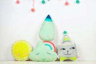 mini pillows sun cloud raindrop cat by PINKNOUNOU