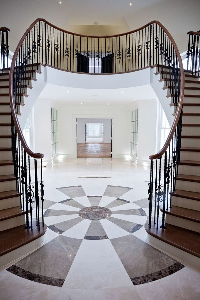 Double staircase in lobby