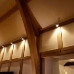 Arched wooden ceiling with lighting